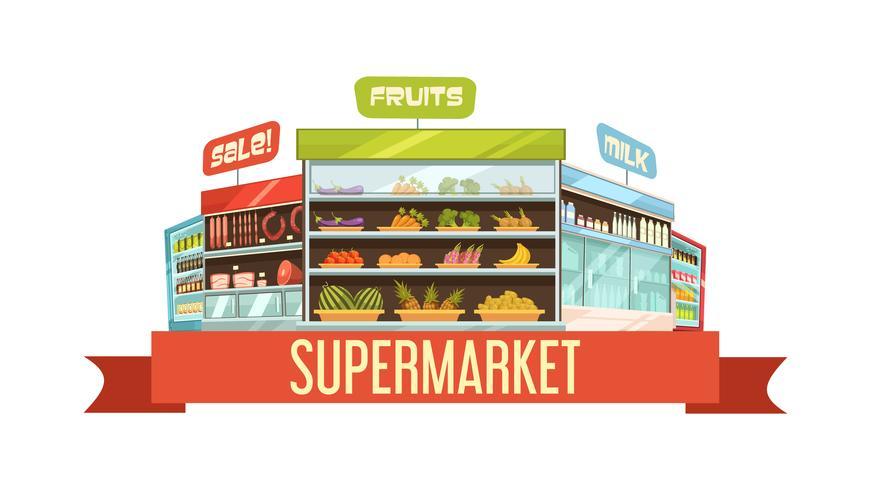 Cartel retro de la composición del soporte de exhibición del supermercado