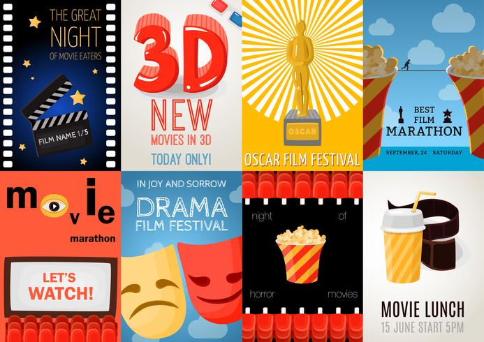 Set Of Eight Cinema Posters vector