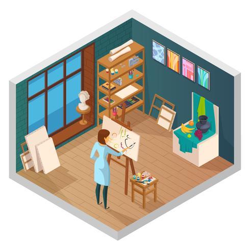 Composição de estúdio de pintura moderna