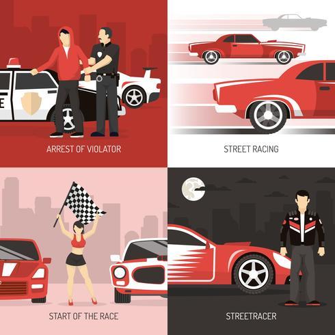 Corrida de rua Cocept 4 ícones planas