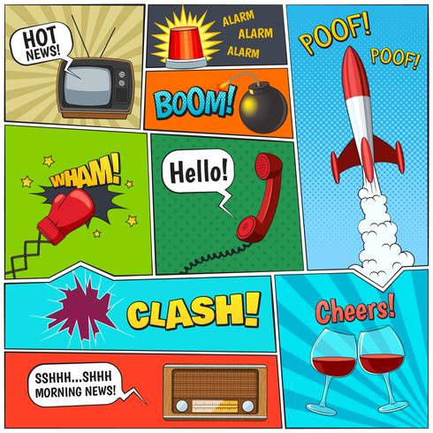 Comic Book Retro elementen samenstelling Poster