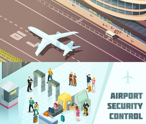 Banners horizontais isométricos de aeroporto