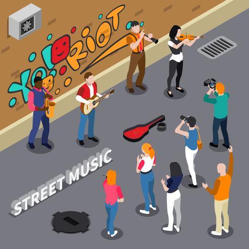 Músicos callejeros ilustración isométrica vector