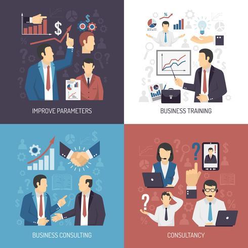 Business Training Concept 4 platta ikoner vektor
