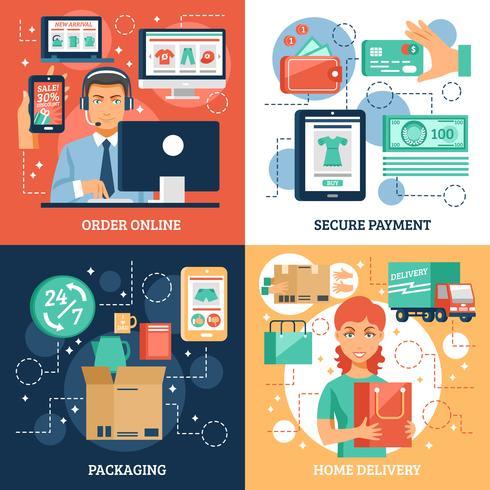 Conjunto de ícones de conceito de comércio eletrônico