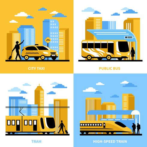 Concepto de diseño de transporte urbano 2x2. vector