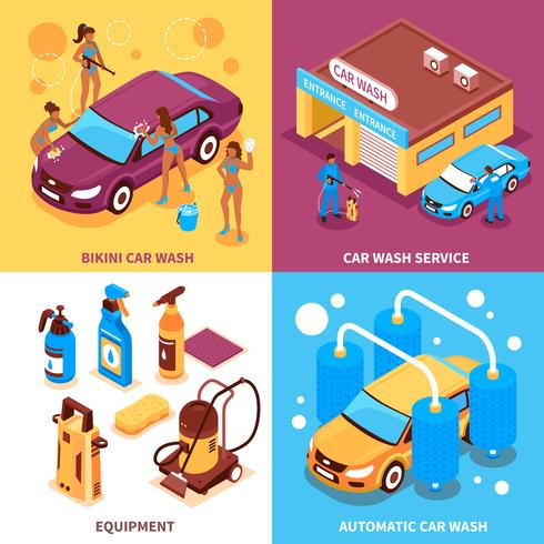 Conceito de Design isométrico de lavagem de carro