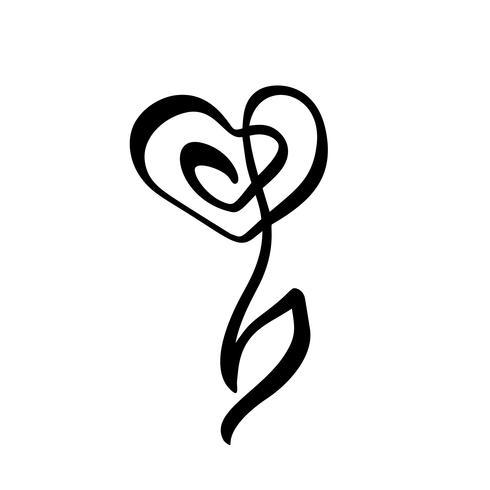 Línea continua mano dibujo caligráfico Logo vector flor concepto boda. Elemento de icono de diseño floral de primavera escandinavo en estilo minimalista. en blanco y negro