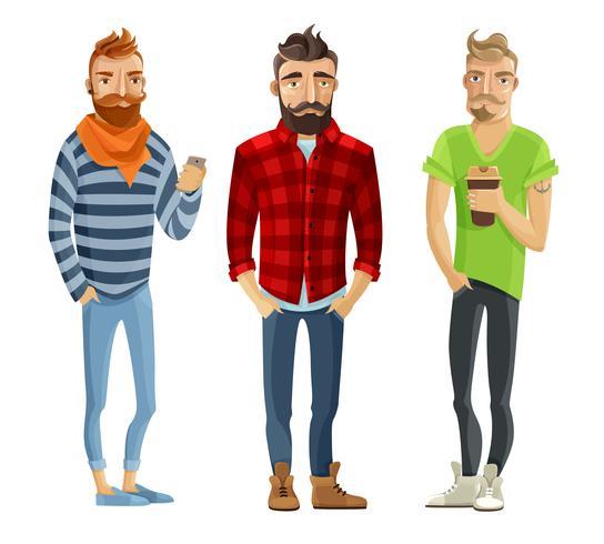 hipster tecknade folk set vektor