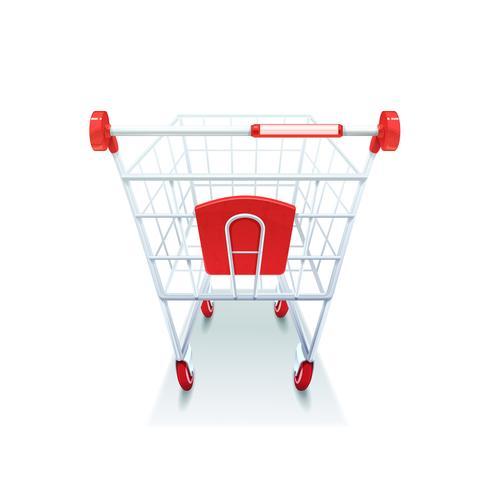 Immagine realistica del carrello di acquisto della drogheria del supermercato