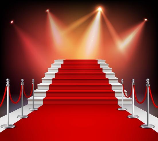 Tappeto rosso con scale vettore