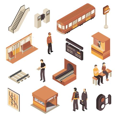 Subway Metro Station Isometric Elements Set