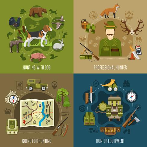 Conjunto de iconos de concepto de caza
