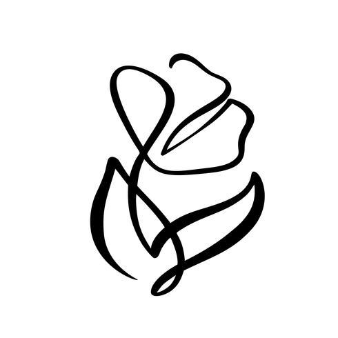 Línea continua mano dibujo vector caligráfico flor concepto logotipo cosmético. Elemento de diseño floral de primavera escandinavo en estilo minimalista. en blanco y negro
