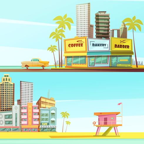 Bannières horizontales de Miami Beach vecteur
