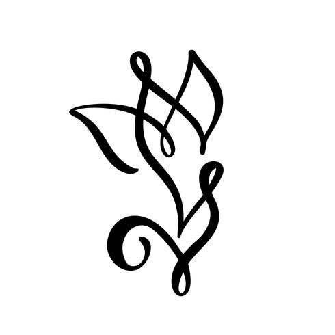 Tulpenblumenlogo. Ununterbrochene Linie Handzeichnung kalligraphisches Vektorkonzept. Skandinavisches Frühlingsblumenmusterelement im minimalen Stil. Schwarz und weiß