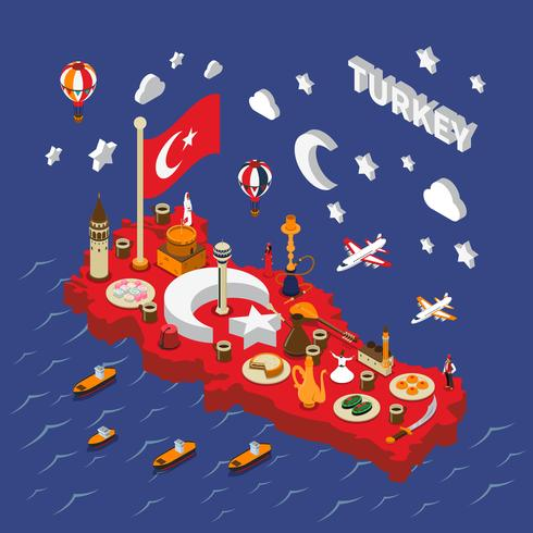 Turkey Touristic  Attractions Isometric Map Poster