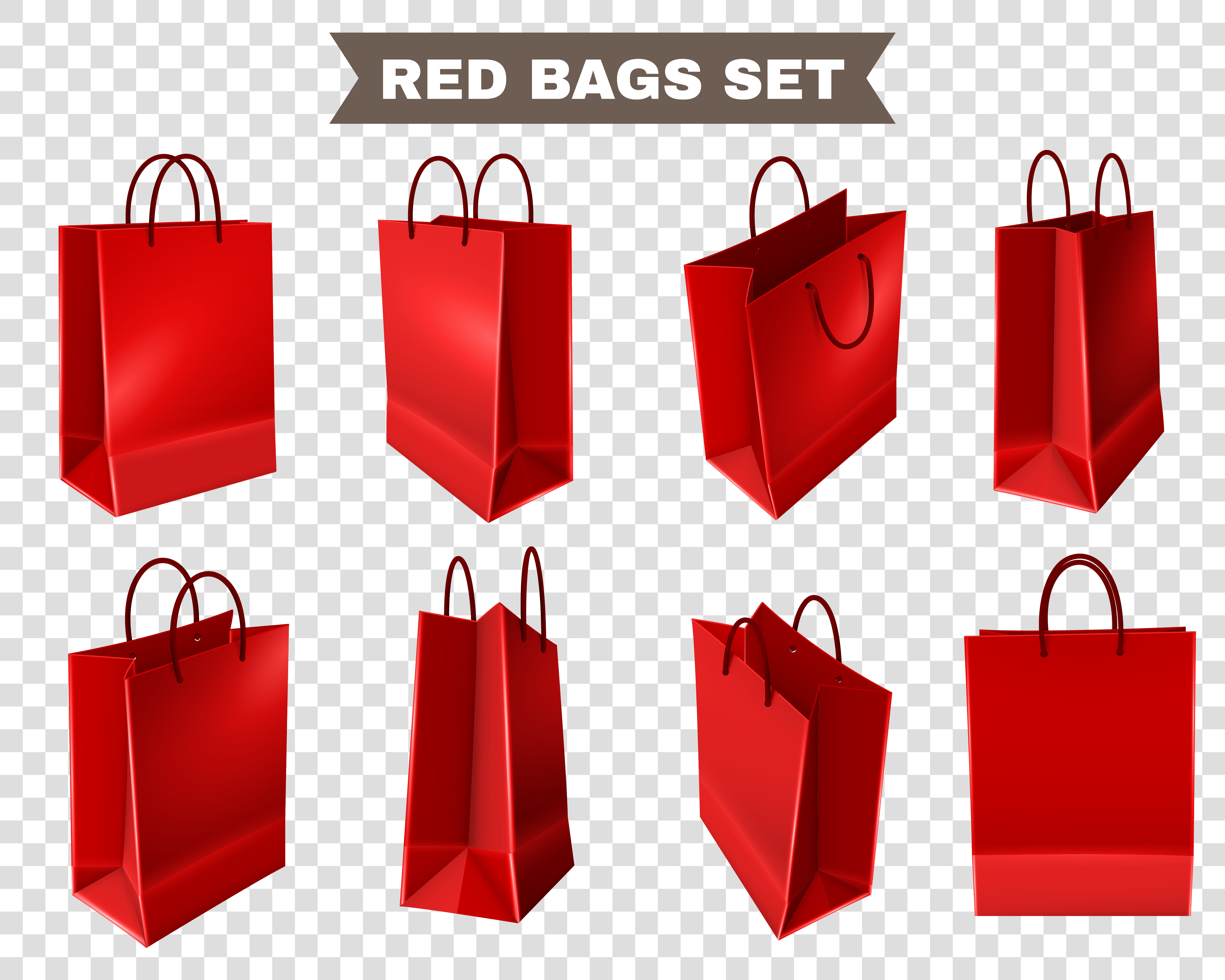 Red Shopping Bags Set Download Free Vector Art Stock