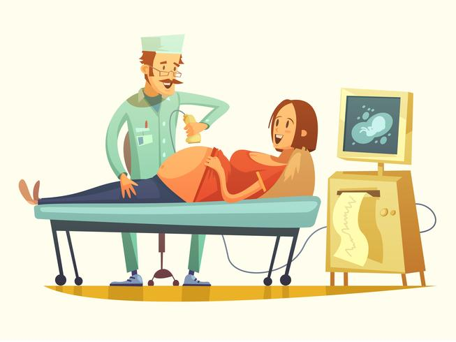 Pregnancy Ultrasound Screening Retro Cartoon Illustration