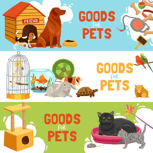 Goods For Pets Horizontal Banners vector