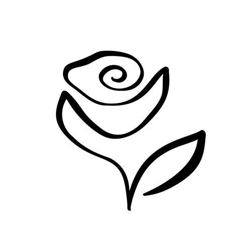 Rose Blumenkonzept-Logokosmetik. Ununterbrochene Linie Handzeichnung kalligraphischer Vektor. Skandinavisches Frühlingsblumenmusterelement im minimalen Stil. Schwarz und weiß
