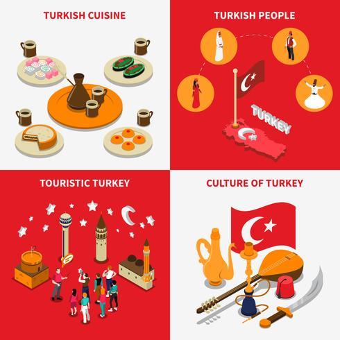 Turquia turistica 4 iconos isometricos cuadrados