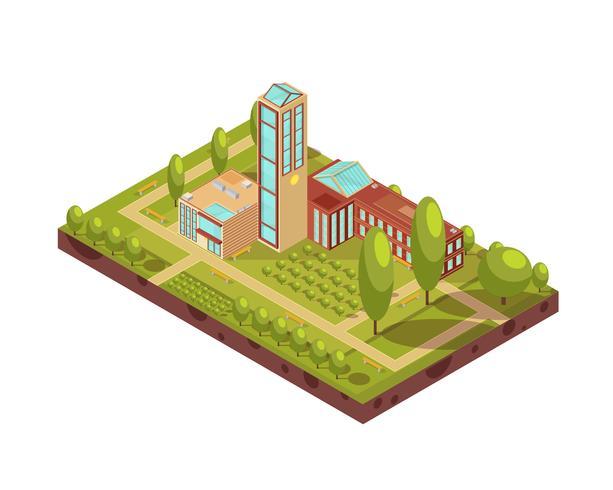 Layout isometrico edificio moderno Università
