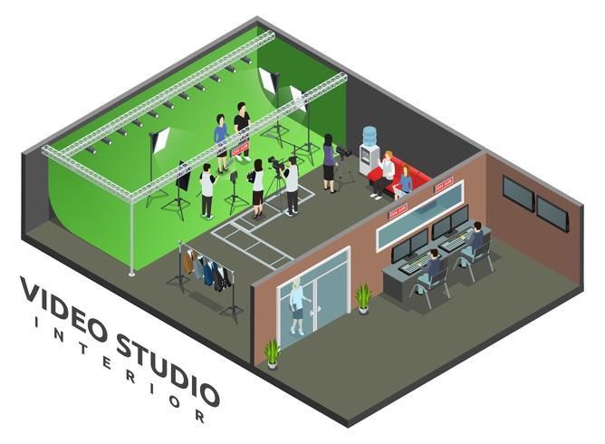 Vista isométrica interior do estúdio de vídeo