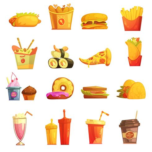 Fast Food Retro Cartoon Icons Set