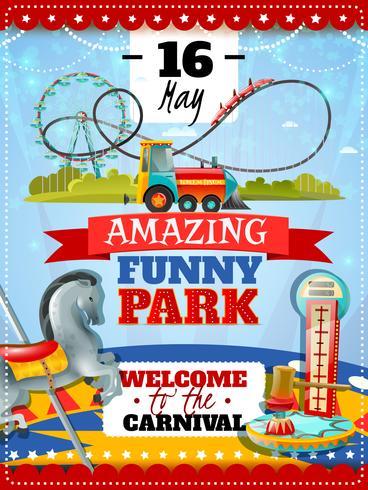 Cartaz do parque de diversões vetor