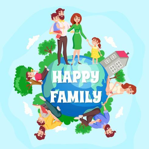 Composition de bande dessinée de famille heureuse