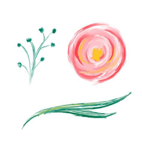 Sistema de la flor dibujada mano linda del vector de la acuarela de la primavera. Ilustraciones de objetos aislados de arte para ramo de boda. Aislado sobre fondo blanco