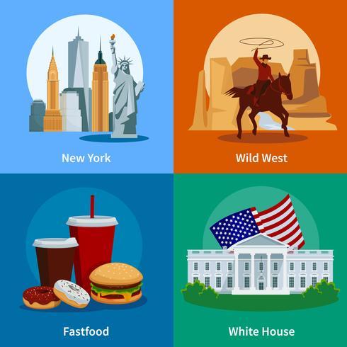 EUA Flat 2 x 2 conjunto de ícones