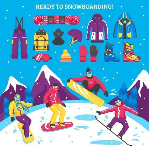 Snowboarding-Vektor-Illustration