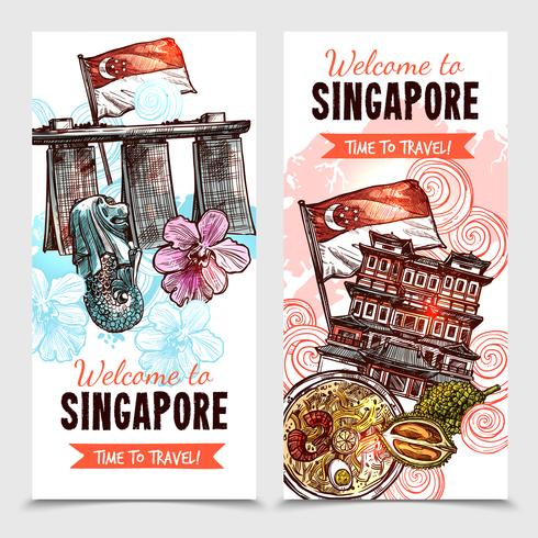 Insegne verticali di schizzo di Singapore vettore