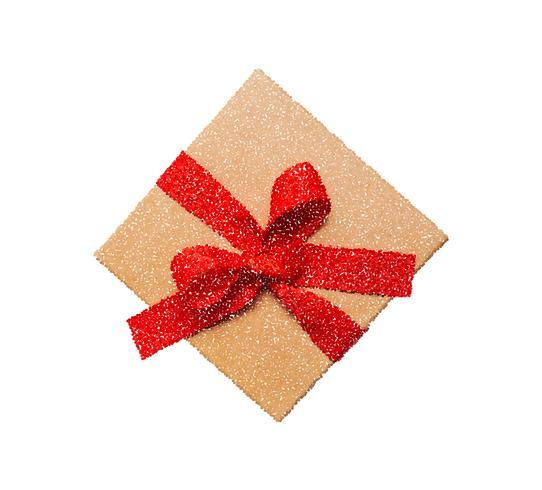 Vector l'illustrazione dell'icona del contenitore di regalo con l'arco rosso, il pittogramma di stile del punto, il simbolo attuale isolato su fondo bianco