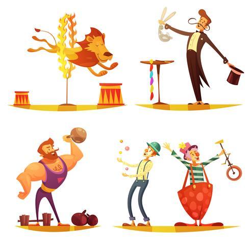 Circus Retro Cartoon 4 pictogrammen Vierkant vector