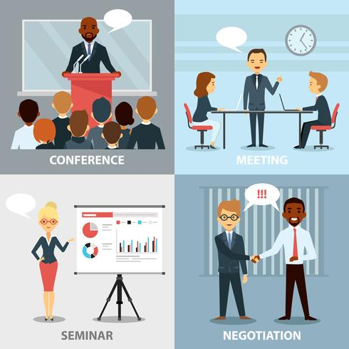 Business Pofessionals Presentando Ideas Flat Collection