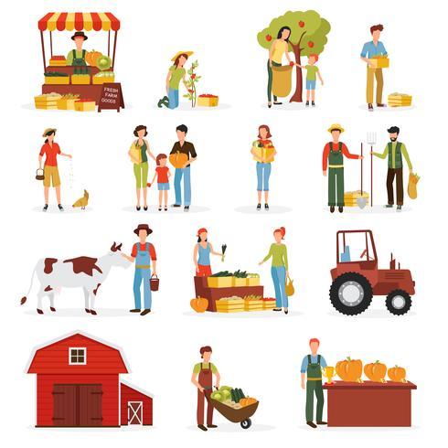 Coleção de ícones plana fazenda colheita outono
