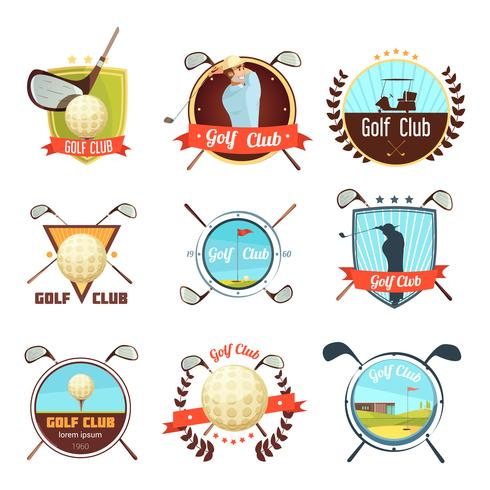 Golf Clubs Retro Style Labels Set