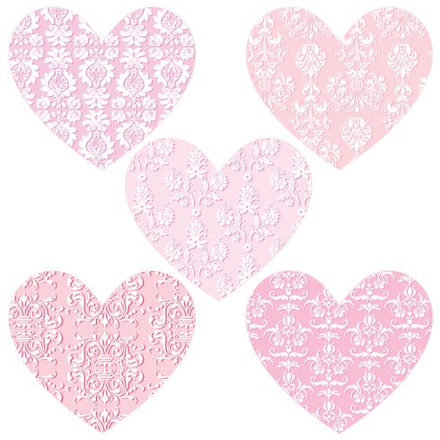 pink damask hearts vector