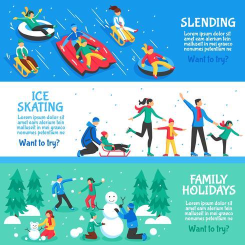 Bannières horizontales plates pour les vacances d'hiver