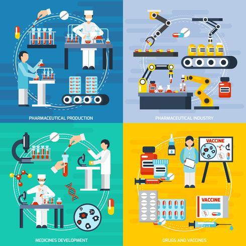 Conjunto de iconos de concepto de producción farmacéutica