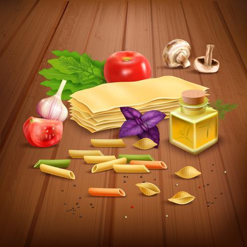 Composizione di pasta secca Pasta realistica Poster vettore