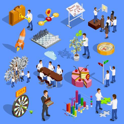 Set di icone di strategia aziendale vettore