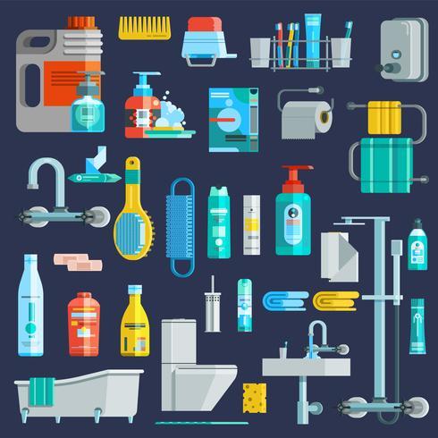 Set di icone di igiene colorata piatta