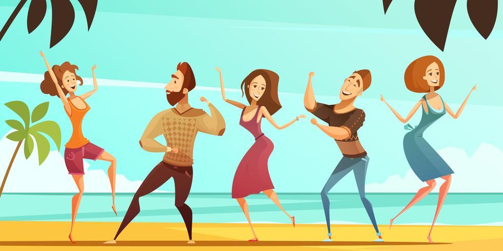 Tanzen-Leute-Ferien-Party-Cartoon-Plakat