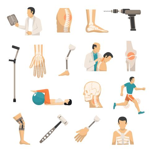 orthopedics color icons set