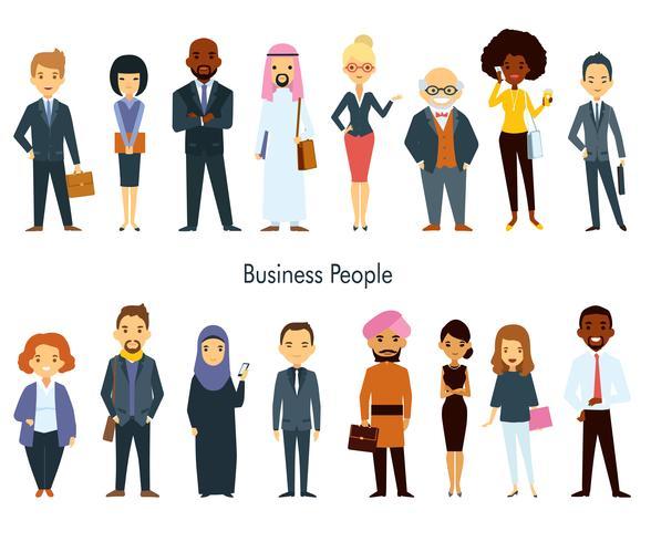 Ensemble de gens d'affaires multi ethnique équipe vecteur