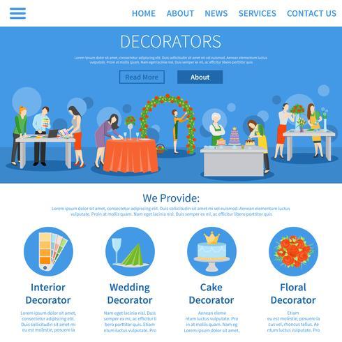 Professionele decorateurs Eén pagina plat ontwerp